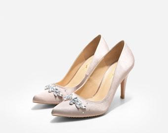 Queen Anna Dark Champagne Wedding Heels, Crystal Embellished Pumps, Crystal Bridal Heels, Satin and Crystal Wedding Heels