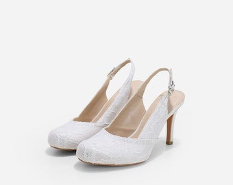 Bethany White Lace Slingback Pumps, Custom Made White Lace Bridal Heels, Lace Wedding Shoes