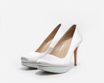 Snow White Satin Custom Made Wedding Heels, White Closed Toe Bridal Heels, Satin Custom Made Bridal Pumps