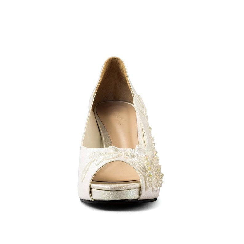 1c1091650997 Jill Ivory Glitter Lace Lower Heel Glitter Ivory Bridal Heel   Etsy