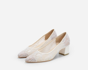 Custom Made Charlize Ivory Lace Wedding Pumps, Lace Cinderella Wedding Shoes, Dream Wedding Shoes, See Through Wedding Heels, Bridal Shoes