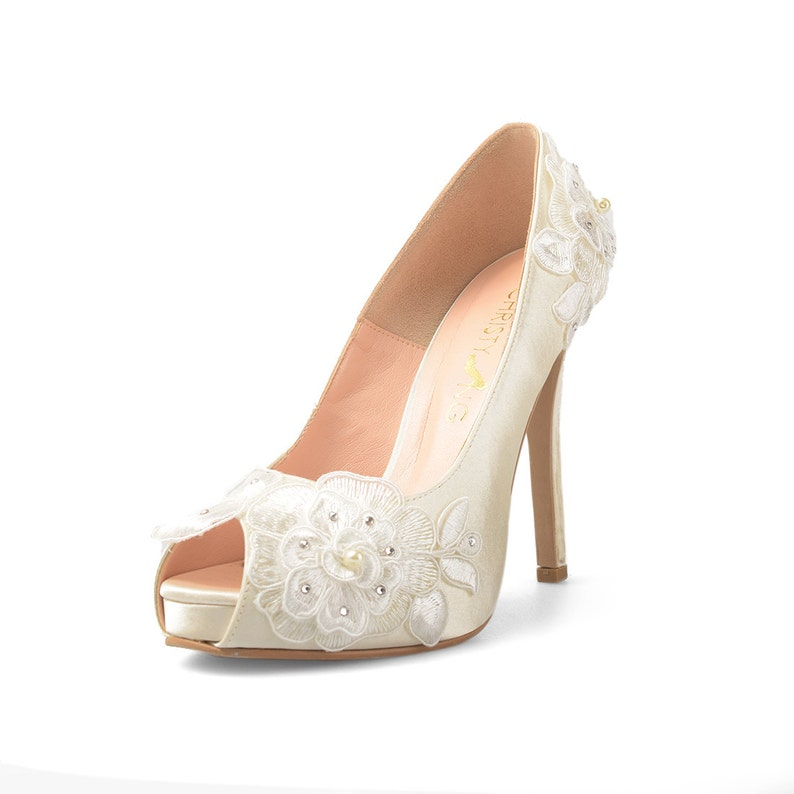 836fadc29e Lorraine V2 Ivory Lace Bridal Heels White Satin Heels with   Etsy