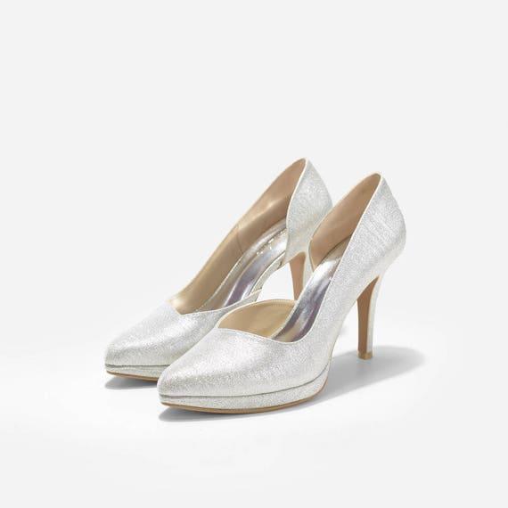 2f800d4dc74 Cynthia Custom Made Heels Silver Glitter Wedding Heels