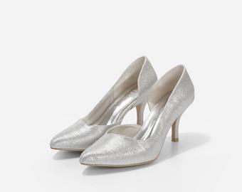 Cynthia Silver Glitter Heels, Silver Glitter Wedding Heels, Pointy Toe Heels, Court Shoes, Wedding Shoes, Bridal Shoes, Silver Wedding Shoes