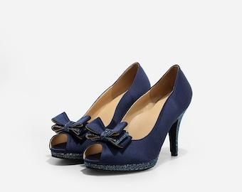 Dream Navy Satin Custom Made Heels, Navy Glitter Wedding Heels, Glitter Satin Wedding Heels, Custom Made Bridal Heels