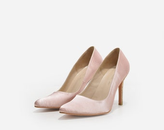 Charlize Custom Made Nude Satin Pumps, Nude Satin Bridal Heels with Gold Glitter, Handmade Pointy Pumps, Nude Wedding Heels