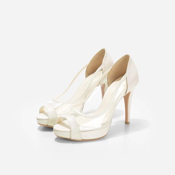 7ba4871171e0d0 Rose Rose Rose voir à travers les talons, paillettes Ivoire Peep Toe talon,  fait sur mesure voir à travers les Semi Transparent mariage chaussures, ...