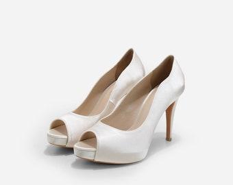 Ivory Wedding Heels, Cream Satin Bridal Peep Toe Heels, Ivory Wedding Heels, Ivory High Heel Satin Evening Shoes