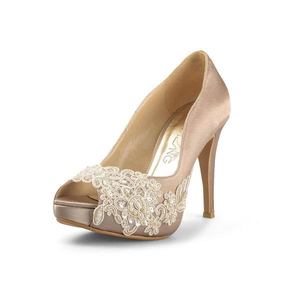 Miss Ace 2 Dark Champagne Wedding Heels Taupe Satin Bridal Heels Dark Champagne Lace Wedding Shoe Taupe Wedding Heels Lace Wedding Shoe
