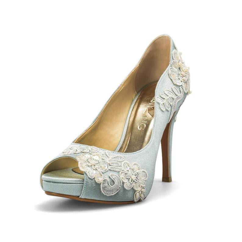 480ca7c747781 Something Blue Wedding Shoes with Lace Powder Blue Bridal image 0 ...