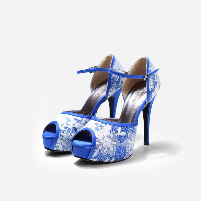 3401c668cb Blue Custom Made Strappy Heels Blue Satin Lace Pumps Open | Etsy