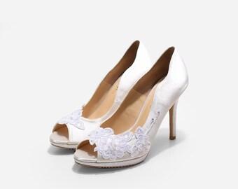 Lady Ayana White Lace Bridal Heels, White Lace Satin Wedding Pumps,