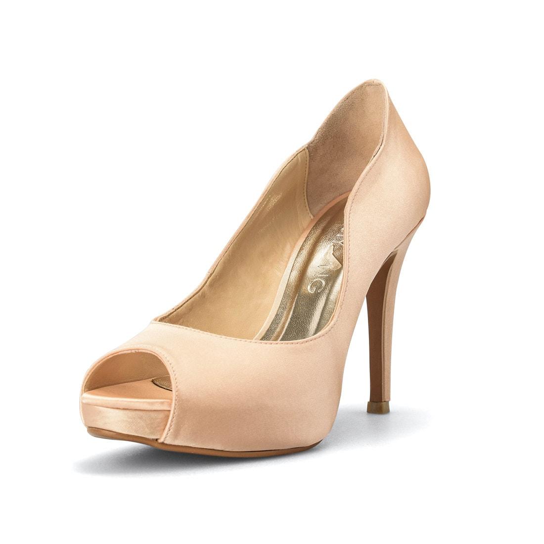 b5827226913e Champagne Gold Wedding Heels Gold Satin Bridal Peep Toe