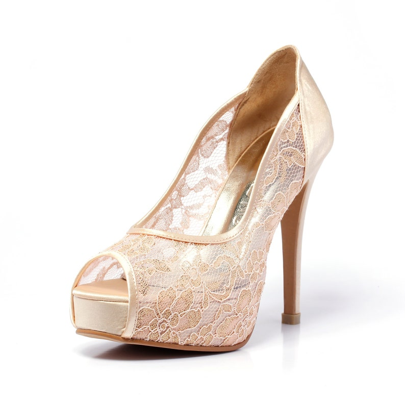 0f3fb417dafe7 Trailblazer, Champagne Gold Lace Wedding Shoe, Peep Lace Satin Wedding  Heels, Golden Champagne Bridal Shoes,Gold Wedding Shoes