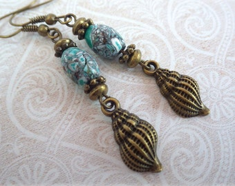 Flotsam and Jetsam - earrings with turquoise beads and snail shells beach snail