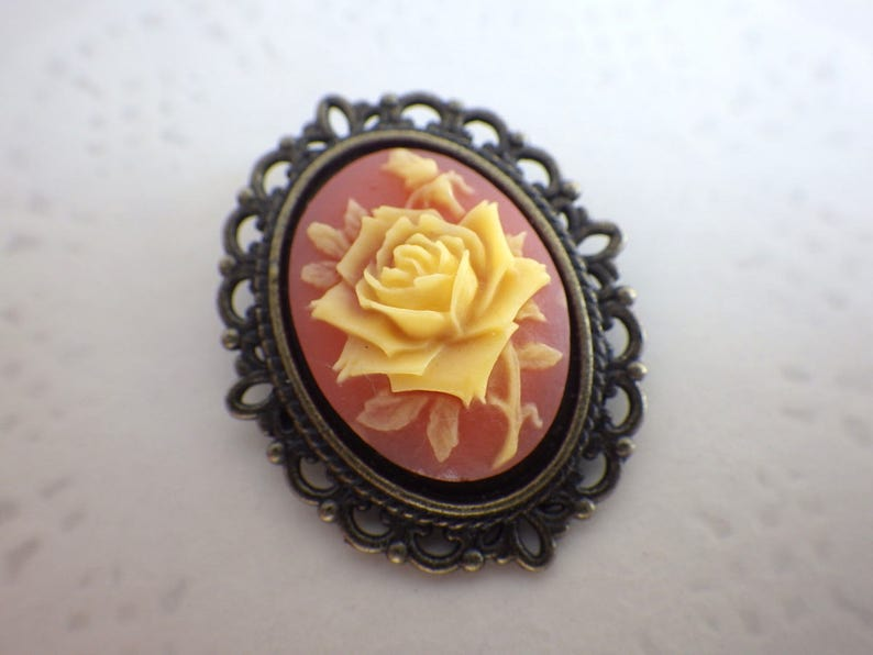 sumptuous old pink Rose bronze Cabochon brooch vintage style