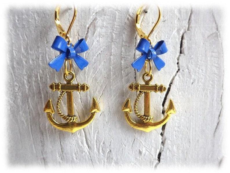 earrings earrings bow anchor blue gold Captain/'s Dinner