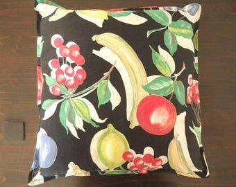 Fruit pillow - vintage fabric banana apple plum pineapple lemon