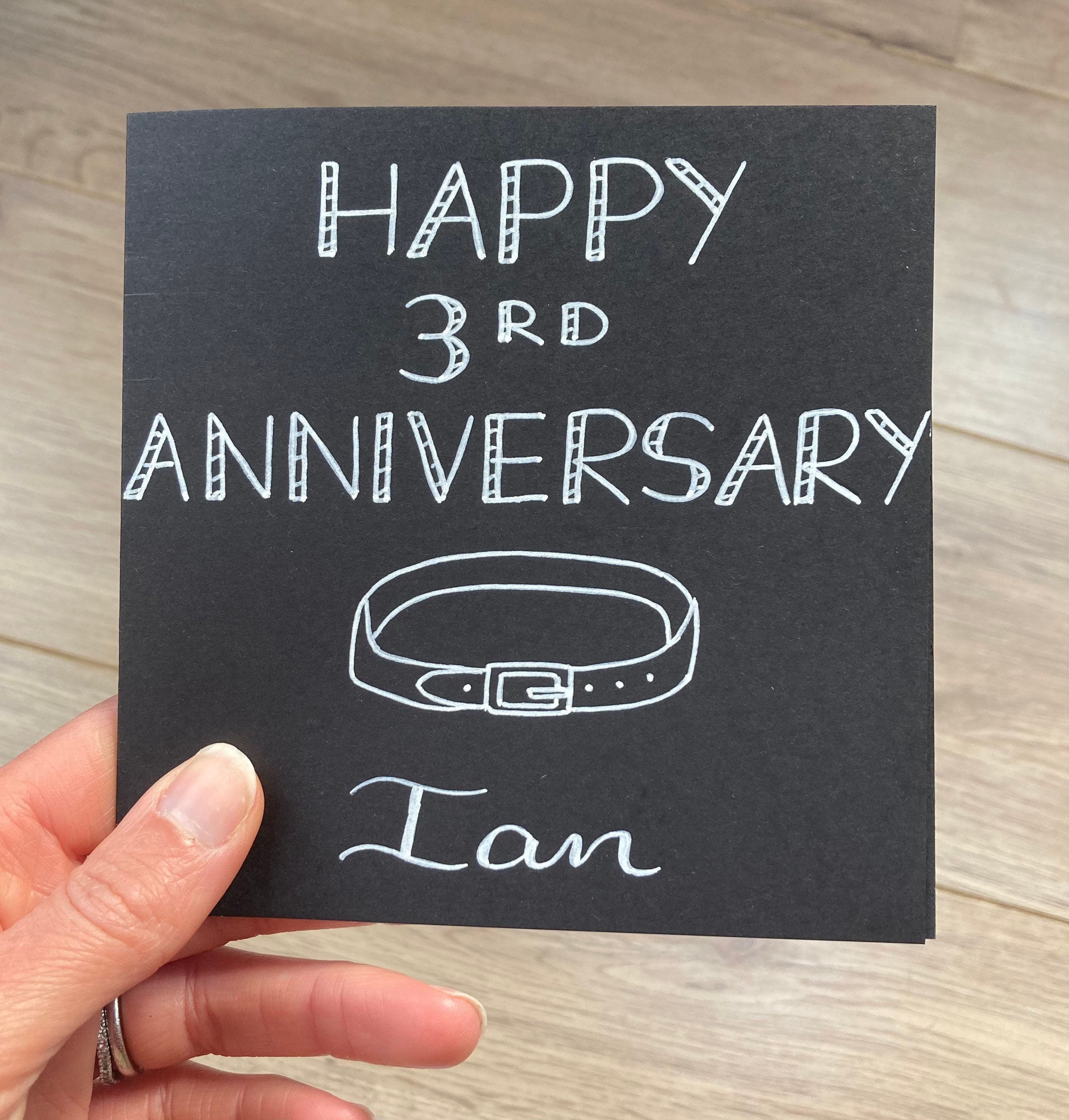 happy 3rd anniversary card 3rd wedding anniversary leather