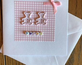 New baby twin girl card