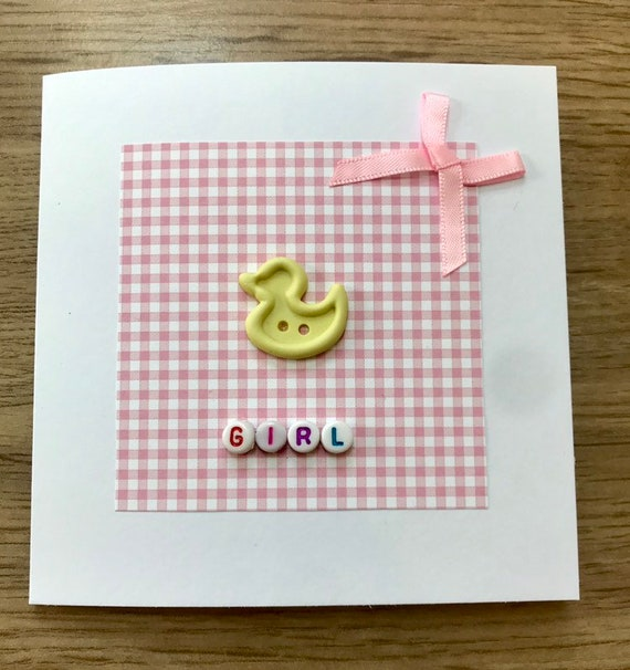 Handmade and personalised button New Baby Girl card