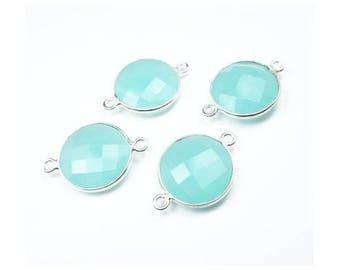 Light Aqua Bleu Calcédoine Boucles d/'oreilles lisse cœur gouttes or 14k ARGENT STERLING