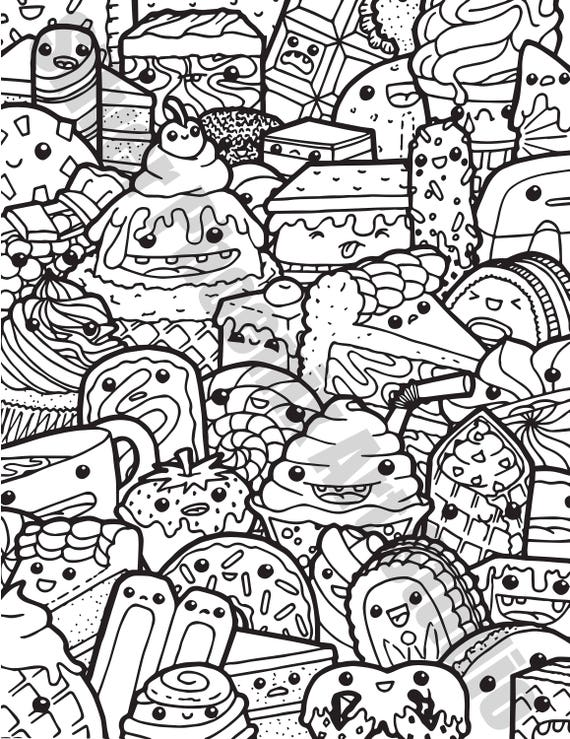 Kawaii Sweets Doodle Adult Coloring Page Printable Digital ...