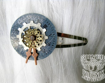 Steampunk Fascinator Hair Clip with Grey Clock Face, Silver Gear, Copper Clock Hands, Gold Filigree Bead Cap