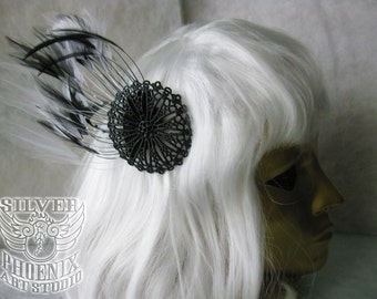 Large Black and White Feathered Hair Fascinator with Round Black Filigree