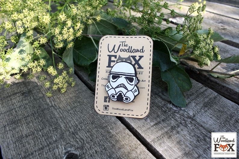Brooch Stormtrooper wood  cut and painted by hand image 0