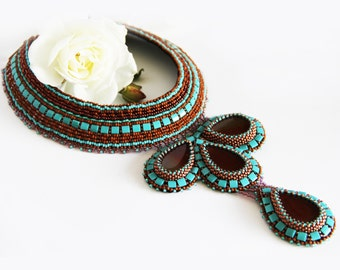Statement beadwork collar necklace with Carnelian gemstone Drop beaded turquoise choker Boho bib necklace Gift for women Event necklace