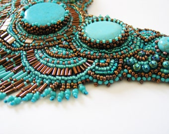 Turquoise statement beadwork necklace with Swarovski crystals , special occasions jewelry. OOAK