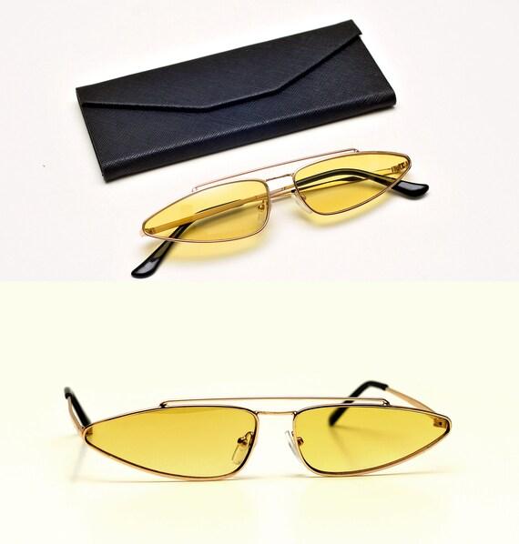 464bece34c497 NOS 1990s slim robot sunglasses cat eye shooters thin