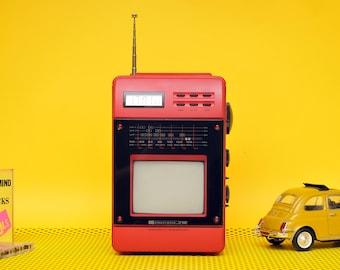 rare micro television futuristic radio clock television made in germany red tv radio table clock mini tv