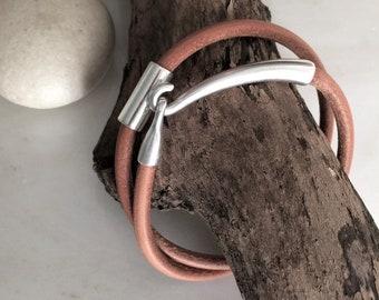 Womens leather bracelet, silver leather necklace or bracelet, leather wrap bracelet, womens silver jewelry, leather cord bracelet