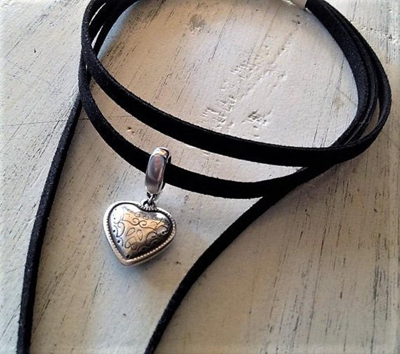 boho necklace heart jewerly silver heart wrap leather choker Womens flat leather choker wrap necklace minimalist jewerly