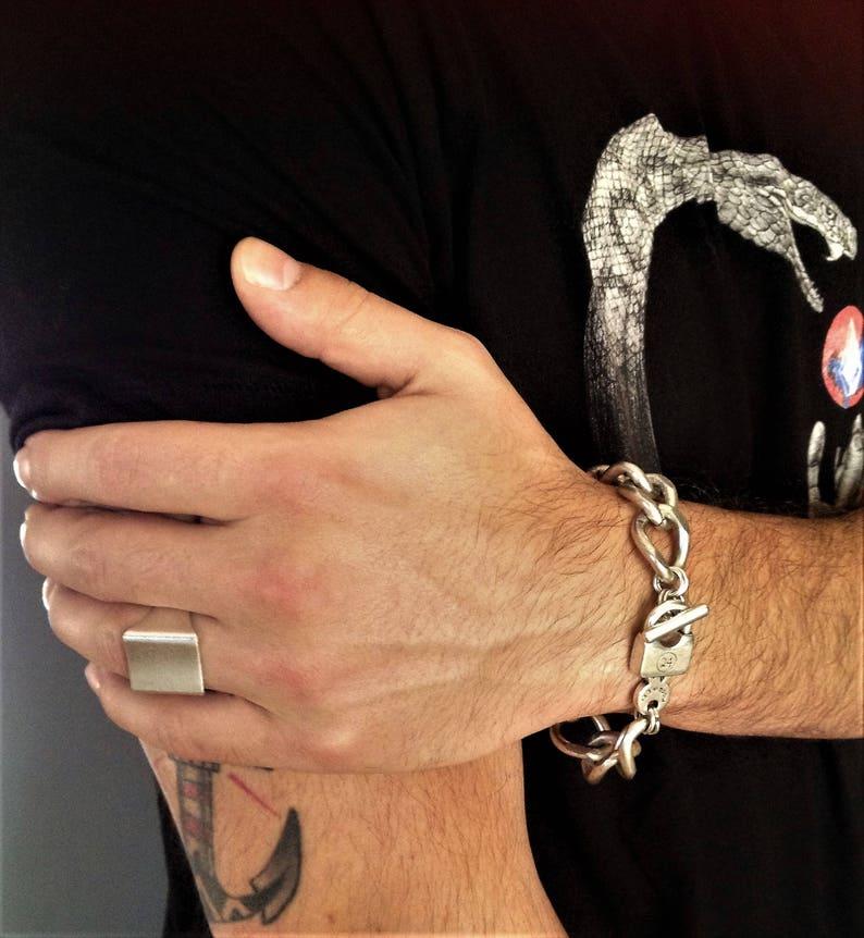 01230e508c1346 Mens thick chain bracelet silver cuban link bracelet antique | Etsy