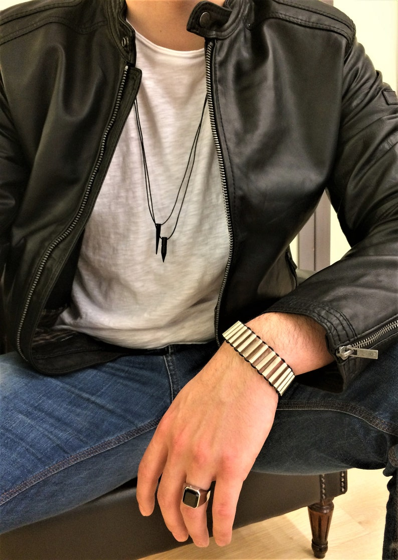 gift for him mens uno de 50 Style cuff mens statement metal cuff mens rock style bracelet Mens leather bracelet silver tubes bracelet