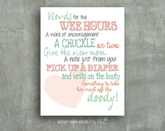 Diaper Notes Game | Baby Shower Printable | Mint and Peach | Instant Download Digital File