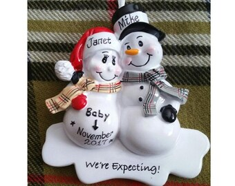 a95424b4dc49 Personalized Expecting Snowman Couple Christmas Ornament - We re Expecting  Ornament - We re Pregnant