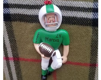 6642c083146 Personalized Christmas Ornament Football Player Green Uniform - Football  Birthday - Team Gifts Football Ornament