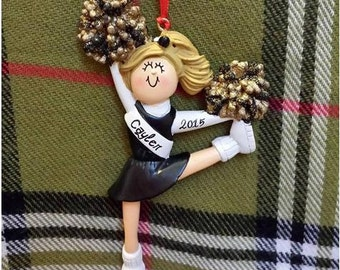Personalized Cheerleader Black Uniform - Cheer Team Gifts/Cheer Cake Stand/Cheer Ornament/Magnet - Customize Poms, Hair Color & Skin Tone