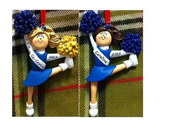 Personalized Cheerleader Blue Uniform - Cheer Team Gifts/Cheer Cake Stand/Cheer Ornament/Magnet - Customize Poms, Hair Color & Skin Tone
