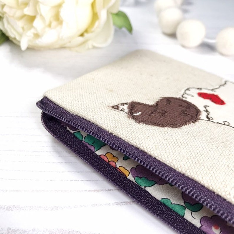Liberty Print Lining Springer Spaniel Coin Zipper Purse Choice of Two Colours