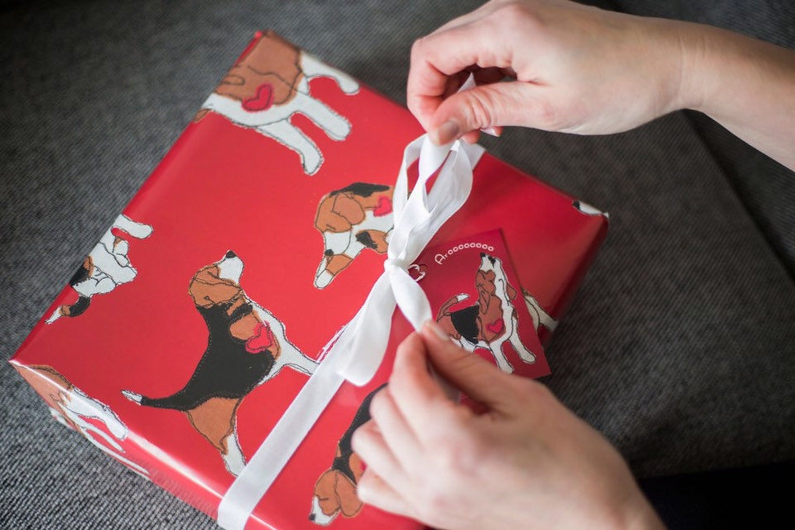 Red beagle wrapping paper