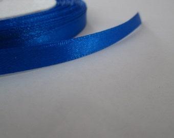 6mm Satin Ribbon, Dark Blue Trim, 1 Roll (25yards)
