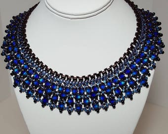 Stunningly beautiful cleopatra bib necklace  in bold sapphire blue
