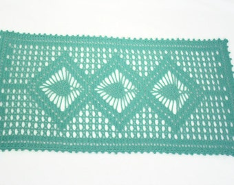 Aqua Doily, Small Rectangular Table Runner Doily, Pineapple Motif Table Runner, Easter Tabletop Decor, Spring Decor