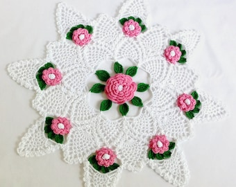 "Rose Design Round Doily, Spring Floral Doily, White Pink Floral Doily, Pineapple Design, 15"" Round Doily, Easter Tabletop Decor"