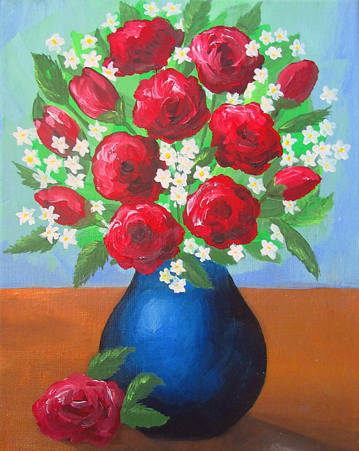How To Paint A Vase With Flowers Acrylic Painting Etsy